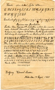 Edward Larsson's notes on Danish runes and numerals. Public Domain.